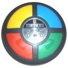 Simon - 80s Toys and Games. You didn't play with this, your childhood was robbed, lol! Grandma could occupy me w/ this all day!