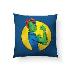 """Zombie Pillow, Halloween Home Decor, Funny Pillow, Feminist Pillow, Spooky Home Decor, Funny Halloween Gift, Rosie Riveter, We Can Do It - 14""""x14"""" - no insert"""