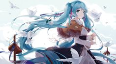 This HD wallpaper is about blue haired female anime character illustration, Hatsune Miku, Original wallpaper dimensions is file size is Hatsune Miku Vocaloid, Kagamine Rin And Len, Miku Chan, Kaito, M Anime, I Love Anime, Anime Girls, Kawaii Anime, Manhwa