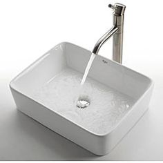 @Overstock - Kraus White Rectangular Ceramic Vessel Sink - Give your bathroom an updated, modern look with this stylish rectangular Kraus vessel sink. This sink includes a chrome pop-up drain and has a non-porous surface to prevent fading and discoloration. The sink has an elegant ceramic finish.  http://www.overstock.com/Home-Garden/Kraus-White-Rectangular-Ceramic-Vessel-Sink/3250161/product.html?CID=214117 $129.95
