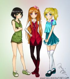 Sugar, spice and everything nice! A fan-art of our all time favorite POWER PUFF GIRLS!! Just a speed-doodle actually! xD