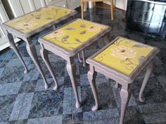 Oak nest of tables shabby chic Farrow and Ball 'London Clay' on Gumtree. Orchard Studio is showcasing a vintage nest of tables with cabriole legs and beautiful carved effect