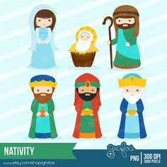NATIVITY Digital Clipart Christmas Clipart Birth of by grafos