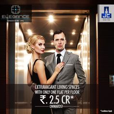 Book the amazing apartment now and feel the #luxury like never before! Elegance in #Andheri​ West offers personalized elevators and one apartment per floor starting from Rs. 2.5 Cr* only. Grab this opportunity and gift yourself an extravagant living space.