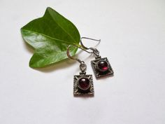Garnet and Sterling Silver Square Earrings by AlmightySale on Etsy