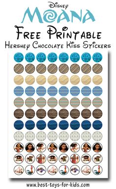 Disney Moana Free Printable Hershey Kiss Stickers