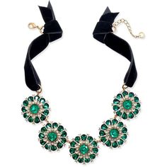 Charter Club Gold-Tone Green & Clear Crystal Black Velvet Statement... ($60) ❤ liked on Polyvore featuring jewelry, necklaces, gold, green jewelry, clear crystal necklace, polish jewelry, gold tone necklace and clear jewelry