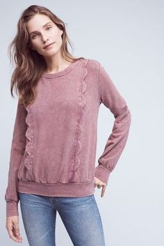 I love the dusty rose color and the feminine scallops! On sale at Anthro! #sweatshirt #dustyrose #scallops #feminine #anthropologie