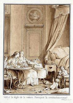 Illustration de Moreau pour l'Emile. Illustration de l'Emile de Jean- Jacques Rousseau.Edition de Londres.1777.