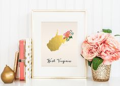 West Virginia State Printable Art West Virginia Art Printable West Virginia Map Printable Faux Gold Foil Printable Wall Art Housewarming by WhitespaceAndDaisy on Etsy https://www.etsy.com/listing/195950125/west-virginia-state-printable-art-west
