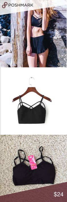 Black strap crop top Brand new with tags black crop top. Brand just for exposure. Free People Tops Crop Tops