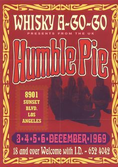 Humble Pie ☯☮ॐ Lucas Lima ☯☮ॐ Tour Posters, Band Posters, Blues Rock, Pop Rock, Rock And Roll, Caricatures, Vintage Concert Posters, Vintage Posters, Psychedelic Music