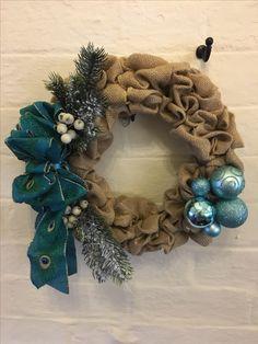 Handmade turquoise hessian Christmas wreath