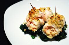 Sole fillets stuffed with a creamy mixture of shrimp and cream cheese, topped in savory bread crumbs, rolled up and baked.