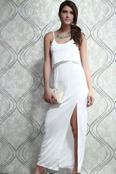 Strap Slit Maxi Dress