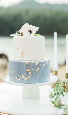 Two tier marble dusty light blue wedding cake with gold foil anenome custom cakes by krystle peachy keen coordination heather mills photography peachykeencoordination goldfoil weddingcake 50 gorgeous romantic wedding cake ideas in 2019 Pretty Wedding Cakes, Summer Wedding Cakes, Elegant Wedding Cakes, Wedding Cake Designs, Wedding Cake Toppers, Rustic Wedding, Cake Wedding, Wedding Cake Simple, Wedding Blue
