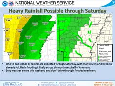 says For The Little Rock Metro & All Of Central Arkansas:  Flash Flood Watch For Conway..Garland..Perry..Pope..Saline & Yell Counties Until 7PM Saturday. Showers & Thunderstorms Likely Thru Saturday..Some With Heavy Rain & 1-2 Strong To Severe. Storms Becoming Scattered Saturday Night & Sunday. Widely Scattered Showers & T'Storms Sunday Night Thru Tuesday. Hi 85 & Lo 62. Hi Saturday 82 & Lo 66. Hi Sunday 77 & Lo 63. Hi Monday 79 & Lo 64. Hi Tuesday 82. For More: - www.weather4ar.org…