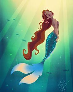 Dylan Bonner Art of Ariel the little mermaid with long hair Mermaid Cove, Mermaid Fairy, Manga Mermaid, Cute Mermaid, Vintage Mermaid, Fantasy Mermaids, Mermaids And Mermen, Real Mermaids, Art Adventure Time