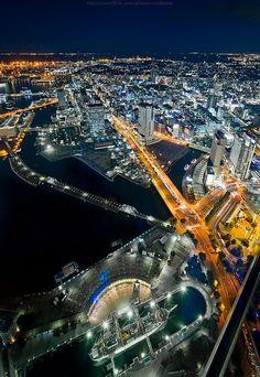 Night view of Yokohama, Kanagawa, Japan . City that never Sleep :'D