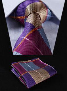 """TC501B8 Blue Purple Check 3.4"""" 100%Silk Wedding Jacquard Woven Men Tie Necktie Pocket Square Handkerchief Set Suit #Affiliate"""