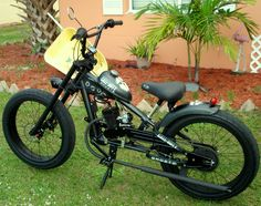 Photos of custom motorized bicycles.See OCC Schwinn Stingray choppers we've motorized.Also rat rods & cruisers, e-bikes or ones with gas and electric motors. Bike Chooper, E Bicycle, Brat Bike, Lowrider Bicycle, Motorized Bicycle, Occ Choppers, Outdoor Bike Storage, Motorised Bike, Chopper Bike