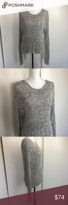 """Vince Hand Knitted Heather Gray Sweater Vince Hand Knitted Heather Gray Sweater. Slouchy scoop neck style perfectly pairs with some distressed denim and boots. The open knit texture layers nicely over a cami or bralette. Cotton. Size S. Approx 24"""" long and 22"""" across the chest when laying flat. Vince Sweaters Crew & Scoop Necks"""