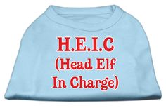 Miragepet Products Puppy Dog Cat Apparel Head Elf In Charge Screen Print Shirt Baby Blue Large(14)