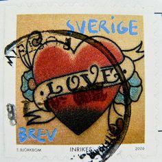 """stamp Sverige Sweden postage Brev Inrikes """"LOVE"""" templid Rootsi แสตมป์ สวีเดน ยุโรป timbre Suède by stampolina, via Flickr"""
