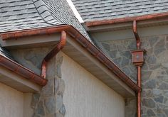 Copper Gutters Installation, Copper Downspouts, Architectural Copper Work, Euro-Tech Construction in the Hudson Valley region of NY, CT and the Tri-State and NYC area. Garden Irrigation System, Copper Gutters, Copper Work, Color Cobre, How To Install Gutters, French Drain, Exterior House Colors, Metal Roof, Door Handles