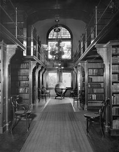 16 x 20 Gallery Wrapped Frame Art Canvas Print of Shelves in library U S Naval Academy 1896 Detriot Publishing co.