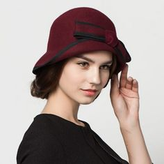 Half crimping wool cloche hat for women bow trilby bowler hats