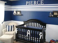 Nautical Nursery Deep, royal-blue walls accented with white wainscoting and eye-catching stripes give this boy's nursery a clean, crisp look that's also dynamic and unexpected. Design by Rate My Space user babyhooddesign. Navy Blue Nursery, White Nursery, Nautical Nursery, Nautical Baby, Nautical Theme, Sailboat Nursery, Striped Nursery, Baby Boy Rooms, Baby Boy Nurseries