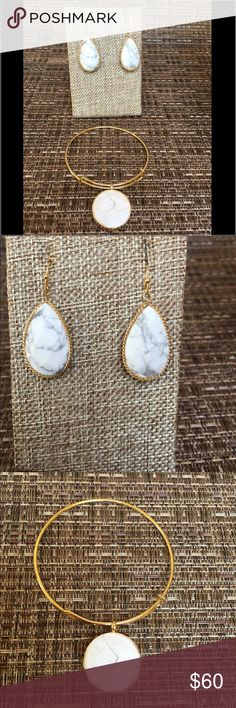 Bundle.  Matching earrings and bracelet Bundle:  Matching teardrop earrings and adjustable gold layered bracelet.  Gorgeous and classy white stone. Jewelry