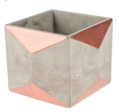 Concrete / copper geometric container