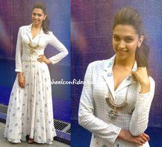 Deepika promoting her upcoming film 'Ram Leela' in a summery Rahul Mishra long kurta/skirt with a statement Valliyan by Nitya Necklace