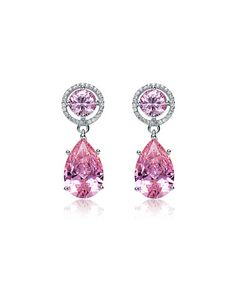 Loving this Silver & White & Pink Cubic Zirconia Pear Drop Earrings on #zulily! #zulilyfinds