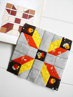 This Farmer's Wife sampler quilt block looks like a semaphore flag. Such a strong graphic quality.