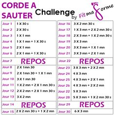 Challenge-corde-à-sauter-by-fitmaforme-programme. Sport Diet, Sport Fitness, Body Fitness, 30 Day Challenge, Workout Challenge, Workout Guide, Fitness Video, Gewichtsverlust Motivation, Sports Training