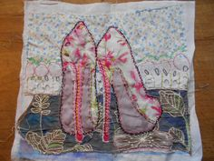 hand stitched and painted using vintage fabrics & threads https://www.facebook.com/Jacq-Brill-Art-423428194459839/