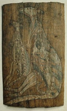 Aboriginal Art Animals: Aboriginal bark painting of kangaroo