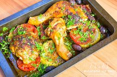 Two minute roasted chicken legs with vegetables and olives recipe. Roasted Chicken Legs, Olive Recipes, 30 Minute Meals, Tandoori Chicken, Bacon, Turkey, Cooking Recipes, Tasty, Meat