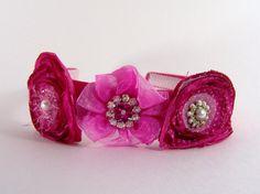 Satin Headband Handmade Hot Pink with Three by amberulrick on Etsy, $18.00