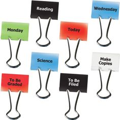 Teacher Clips Set Of is a super easy but super helpful tip for teachers to use! It will keep everything very organized and be a simple reminder as well! Classroom Organisation, Teacher Organization, Teacher Tools, Classroom Management, Teacher Resources, Organized Teacher, Organizing Ideas, Teacher Gifts, Homeschooling Resources