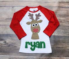Christmas Shirt Reindeer Shirt Boys Christmas by roundthebendagain