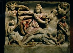 A relief of Mithras slaying the bull, the first of living creatures from whose blood, corn and all other forms of life arose. Roman / Museo Nazionale Romano, Rom