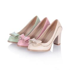 Charm Foot Fashion Bows Womens Chunky High Heel Pumps Shoes $27.00