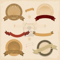 Illustration of a collection of design grunge vintage banners, labels, seal  stamper and icons Stock Photo - 11248640