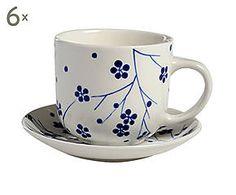 Set di 6 tazze da the in ceramica con piattini Asia blu - 8x12 cm