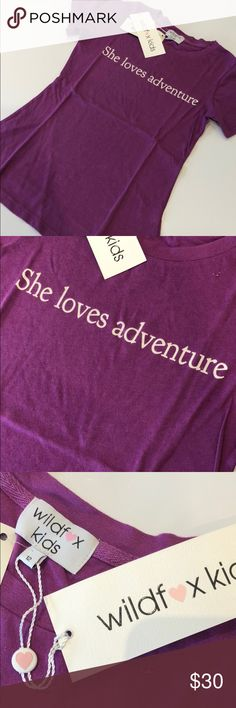 """Wildfox Kids Adventure T-shirt Wildfox Kids Trust Crew t-shirt with """"She loves adventure"""" on front. Size: 7/8, 12, Color: Magic (purple) Wildfox Shirts & Tops Tees - Short Sleeve"""
