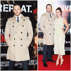 Tom Hardy in Burberry classic trench coat - 'Edge Of Tomorrow' - UK Film Premiere http://www.whats-he-wearing.com/2014/05/tom-hardy-burberry-trench-coat-edge-of-tomorrow-london-UK-premiere.html